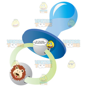 Blue Pacifier With Rubber Nipple Tip, Ring With Cute Lion Bead Detail