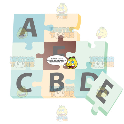 Blue And Yellow Puzzle Pieces Put Together With Letters On Each Piece