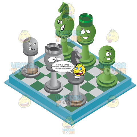 Green And Blue Checkered Chess Board With Chess Pieces With Faces On It