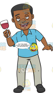 Drunk Looking African American Man Holding A Glass Of Wine