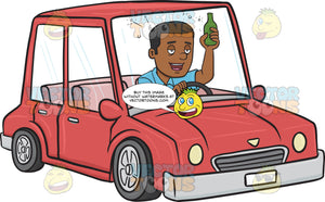 African American Man Driving While Drinking
