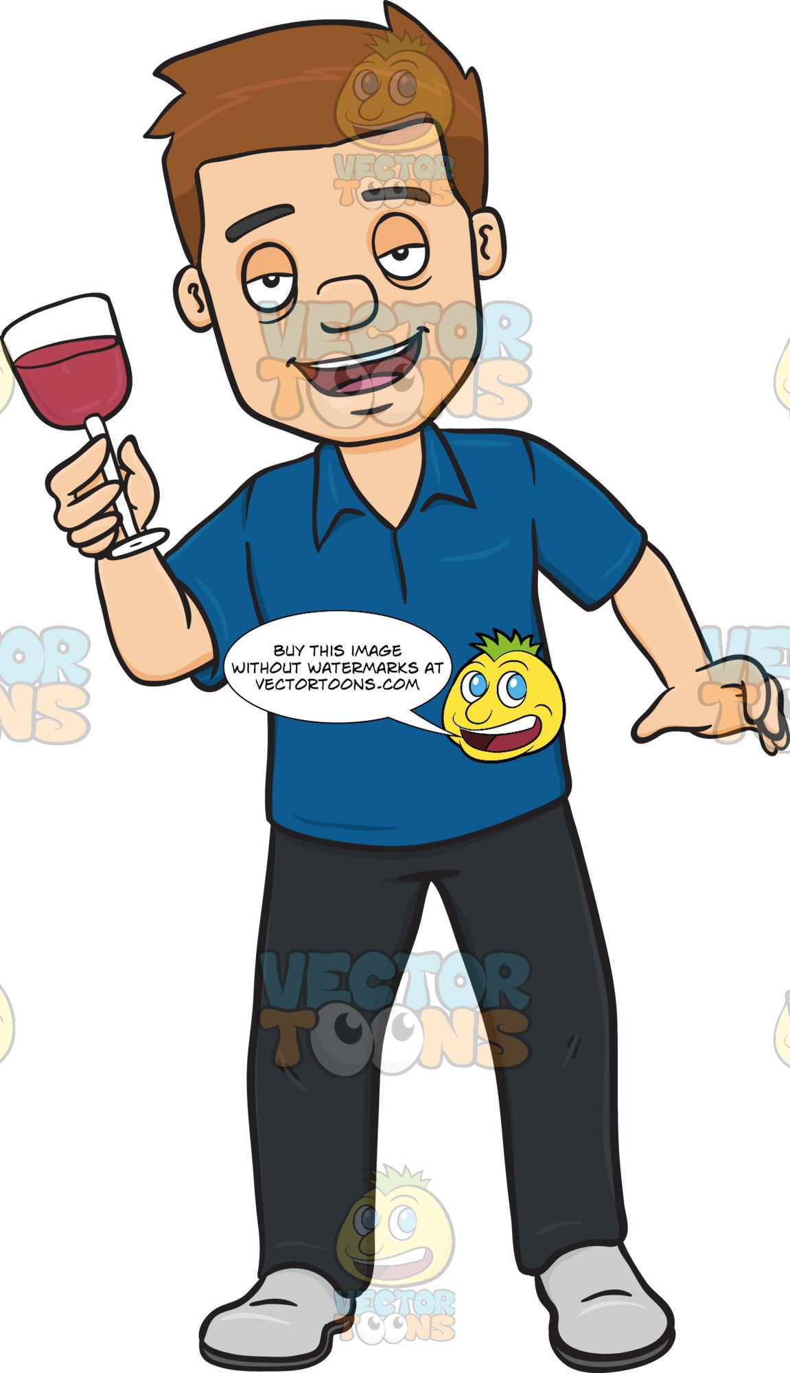 Drunk Looking Man Holding A Glass Of Red Wine