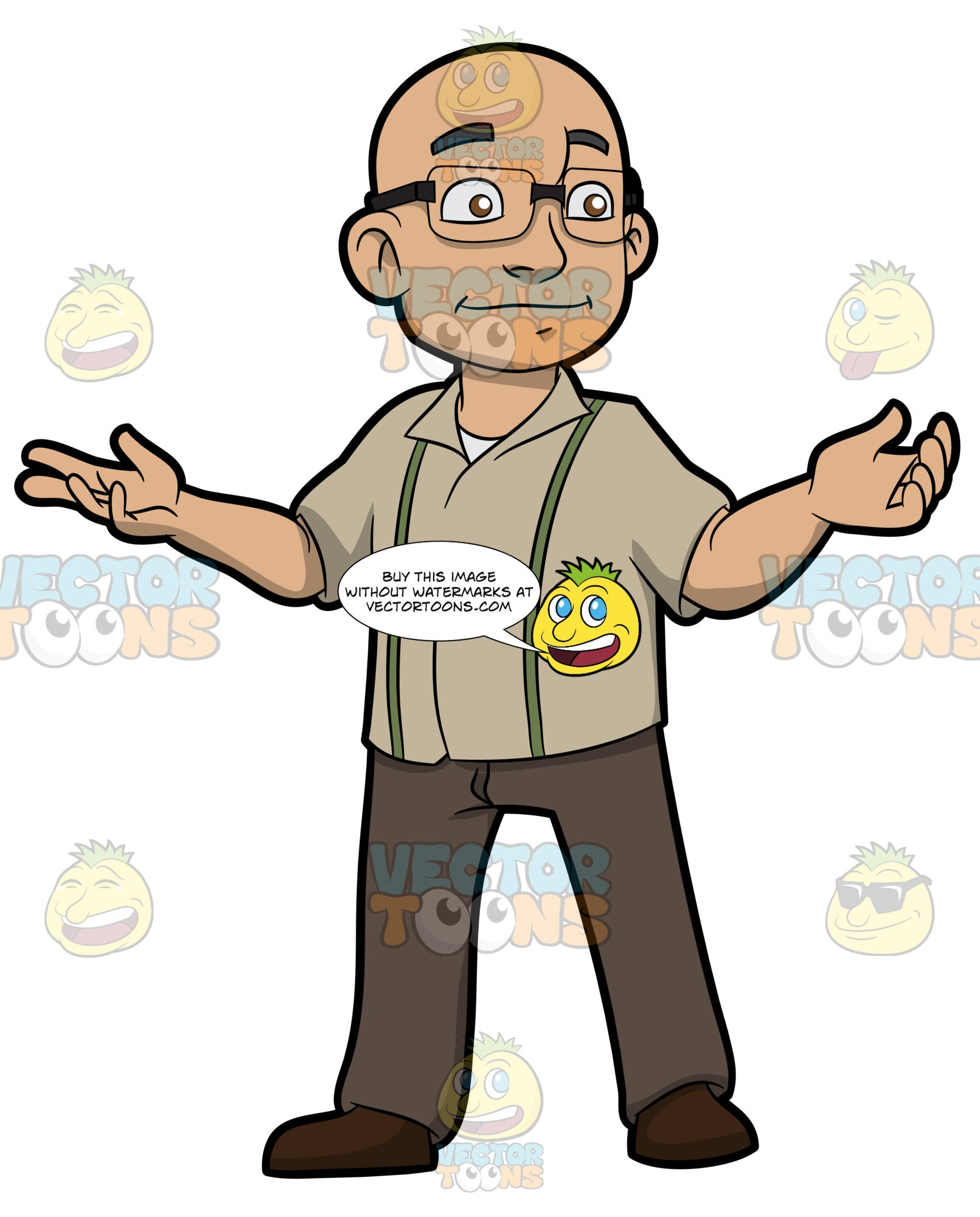 A Bald Man With Glasses Clipart Cartoons By Vectortoons