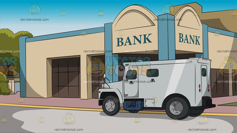 Bank Facade With Armored Car Background