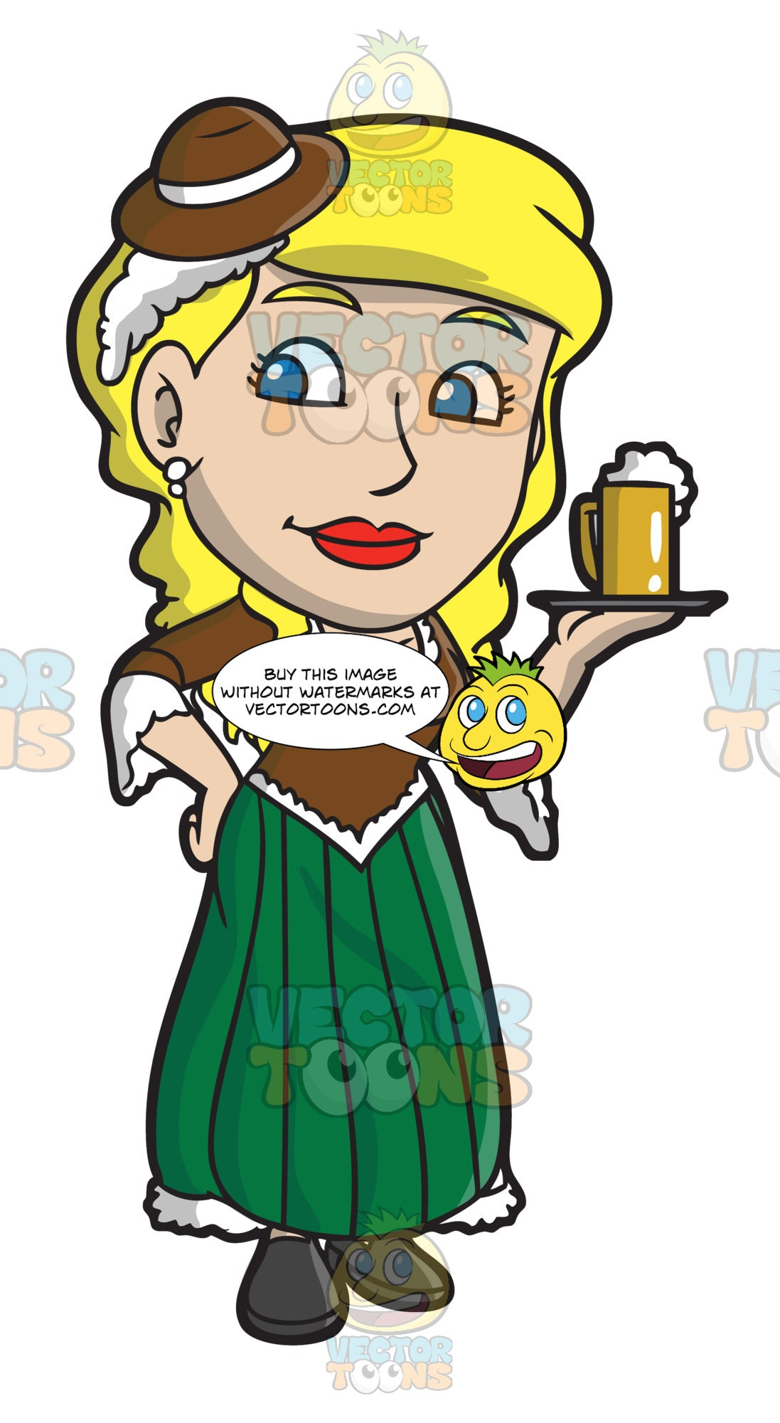 A Bar Wench Carrying A Mug Of Beer