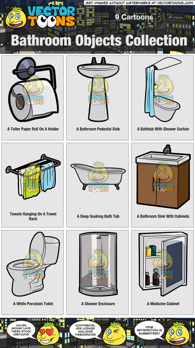 Bathroom Objects Collection Clipart Cartoons By Vectortoons