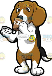 A Beagle Drinking Freshly Brewed Coffee On The Go