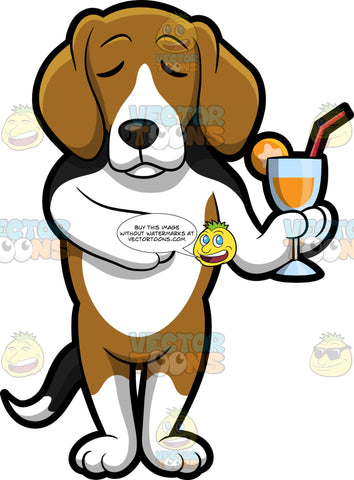 A Beagle Enjoying A Refreshing Cocktail