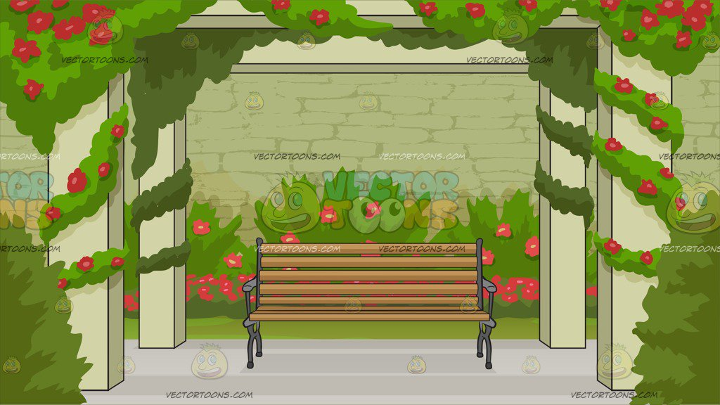 Bench In A Rose Garden Background