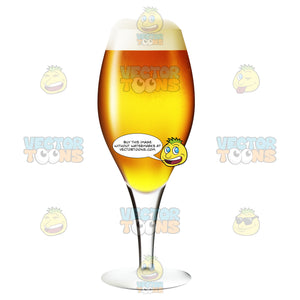 Flute Glass Full Of An Amber Colored Beer With Froth At The Rim