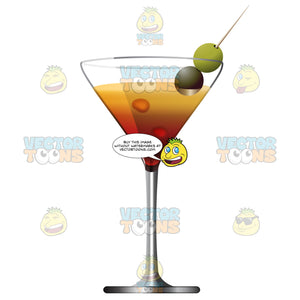 Martini Glass With Two Olives On Toothpick