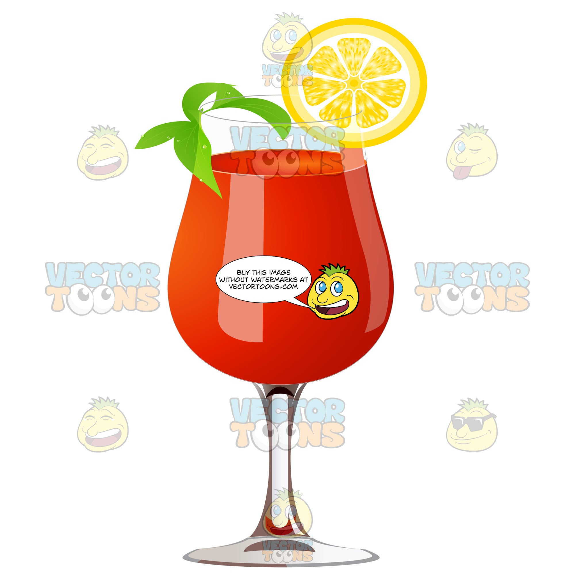 Red Colored Drink In A Stemmed Glass With An Orange Slice And Mint Garnish
