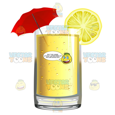 Yellow Colored Drink With A Lemon Slice And Umbrella Garnish