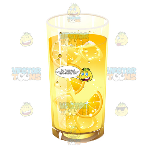Glass Full Of A Yellow Liquid Ice Cubes And Orange Or Lemon Slices