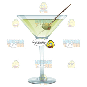 Martini Glass With A Green Liquid And One Green Olive