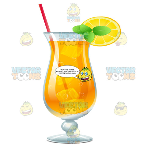 Hurricane Glass With An Orange And Mint Garnish