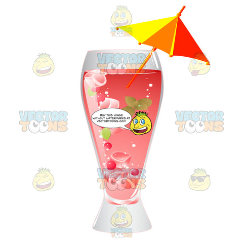 Tall Glass With A Pink Drink That Has Ice Cubes Cherries And Mint Garnished With An Umbrella