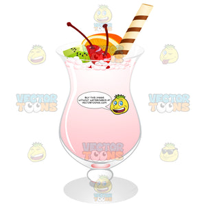 Hurricane Glass With Pink Liquid Fruit Garnishes And A Straw