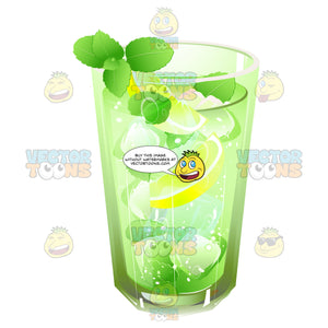Drink Garnished With Mint And Lemon Slices