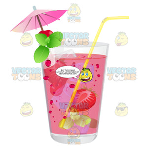 Glass With A Pink Liquid That Has Strawberries Mint Cherries And A Mint Garnish