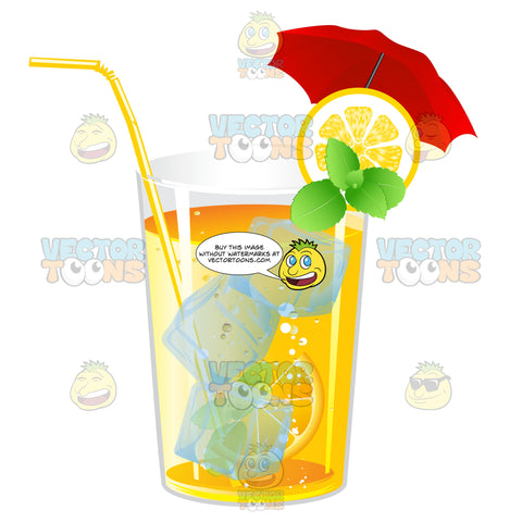 Tumbler Glass Garnished With Lemons And Mint