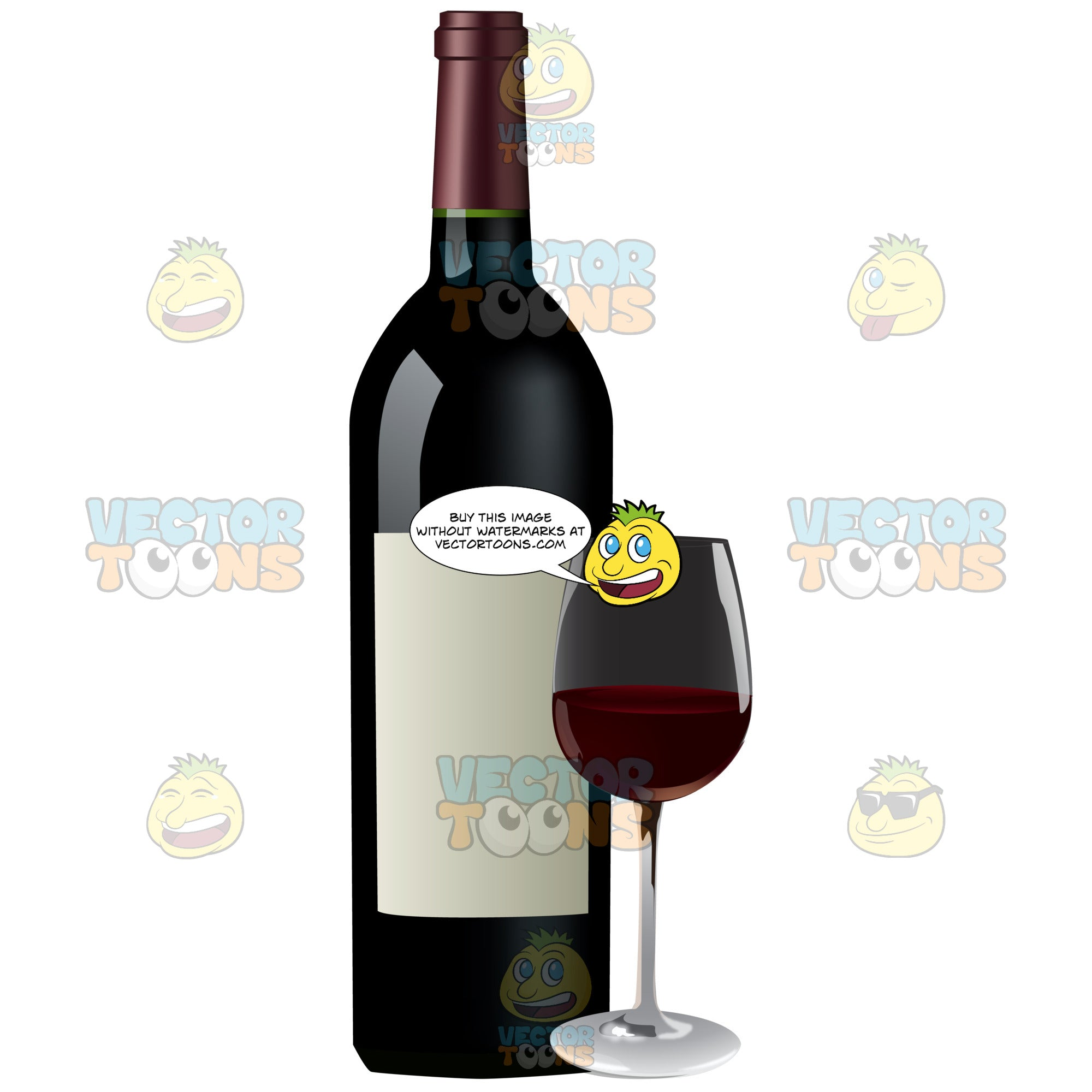 Red Wine Poured In A Glass Next To The Bottle