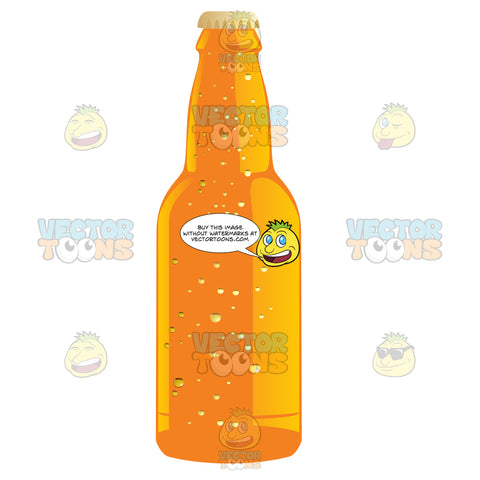Orange Soda Bottle With Caffeinated Bubbles Inside