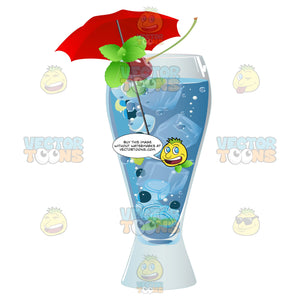 Tall Glass With A Blue Drink Inside Garnished With Mint Cherries And An Umbrella