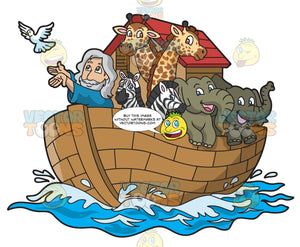 Noah In His Ark Filled With Animals
