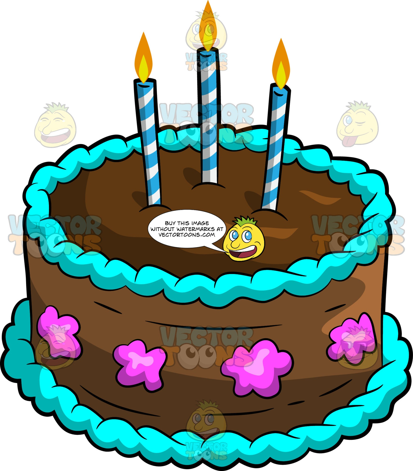 Remarkable A Chocolate Birthday Cake With Candles Clipart Cartoons By Funny Birthday Cards Online Elaedamsfinfo