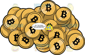 A Pile Of Gold Bitcoins