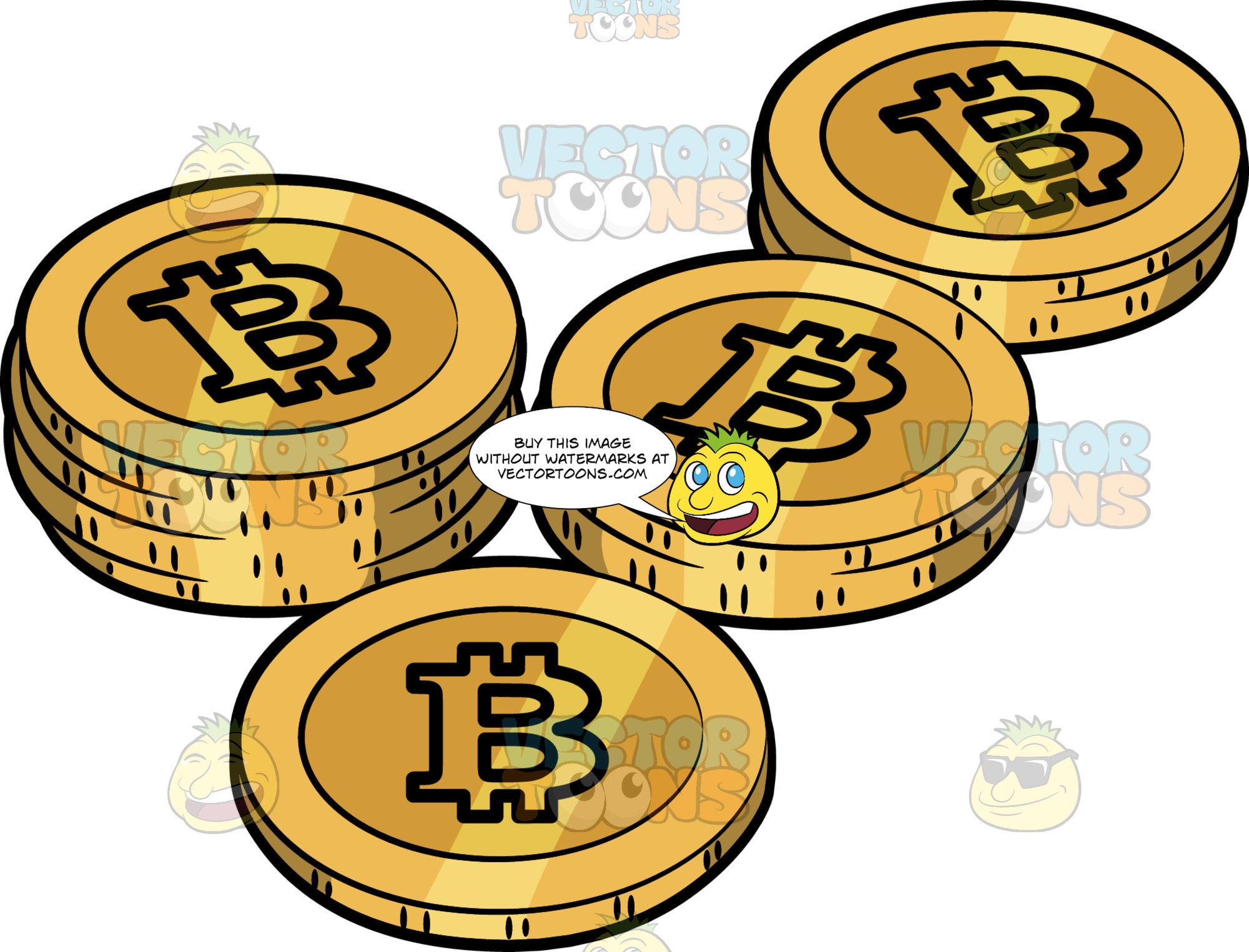 Several Pieces Of Gold Bitcoins