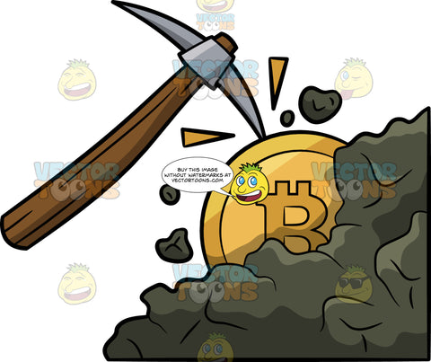 A Bitcoin Being Mined By A Pick Ax
