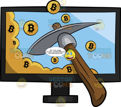 A Bunch Of Bitcoin Being Mined By A Pick Ax Online