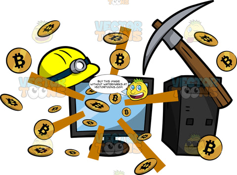 Mined Bitcoins Splattering Out Of A Computer
