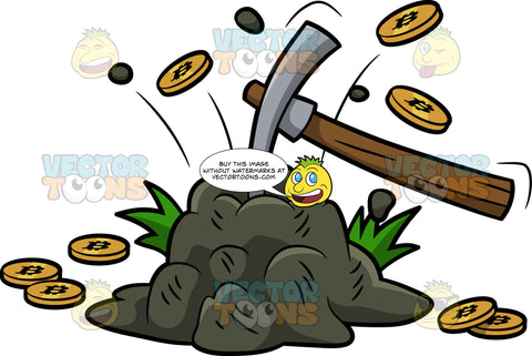 Mined Bitcoins Splattering Out Of A Rock