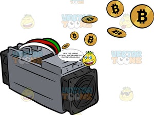 Mined Bitcoins Flying Out Of A Bitcoin Mining Computer
