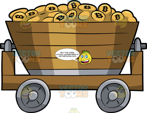 Bunch Of Bitcoins In A Mining Cart