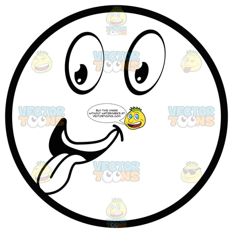 Large Eyed Black And White Smiley Face With Tongue Out Emoticon