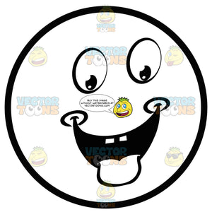 Hungry Dimpled Large Eyed Black And White Smiley Face Emoticon With Tongue Out