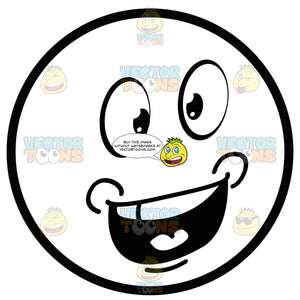 Talking Large Eyed Black And White Smiley Face Emoticon With Chubby Cheeks