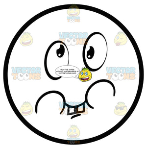 Large Eyed Black And White Smiley Face Emoticon With Goofy Smile, Teeth, Puffy Cheeks