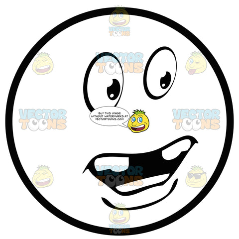 Distressed Large Eyed Black And White Smiley Face Emoticon Missing Middle Teeth, With Chin