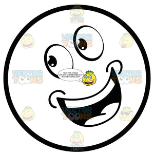 Smiling Open Mouthed Large Eyed Black And White Smiley Face Emoticon With Tilted Head Looking Left