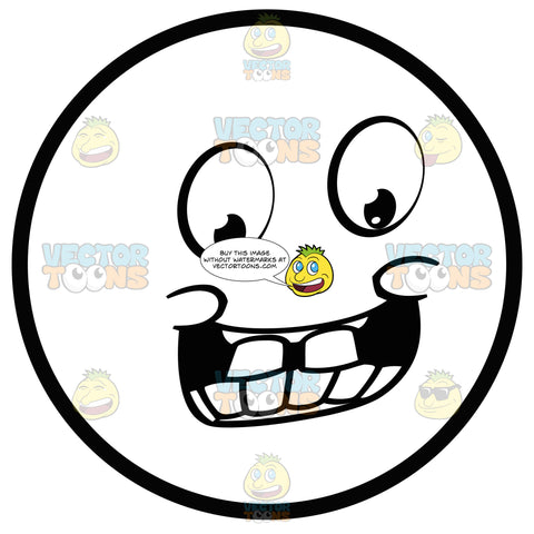 Jolly Large Eyed Black And White Smiley Face Emoticon With Pudgy Cheeks And Toothy Grin