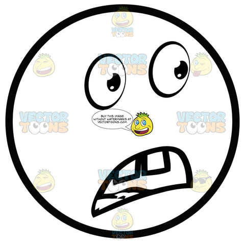 Shocked Large Eyed Black And White Smiley Face Emoticon With Buck Teeth