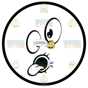 Large Eyed Black And White Smiley Face Emoticon Goofy Face, With Round Mouth And Tongue Out