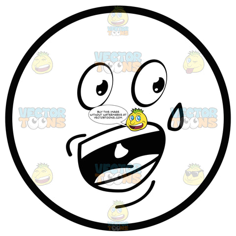 Nervous Talking Sweating Large Eyed Black And White Smiley Face Emoticon