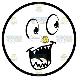 Open Mouthed Large Eyed Black And White Smiley Face Emoticon With Sharp Pointy Teeth