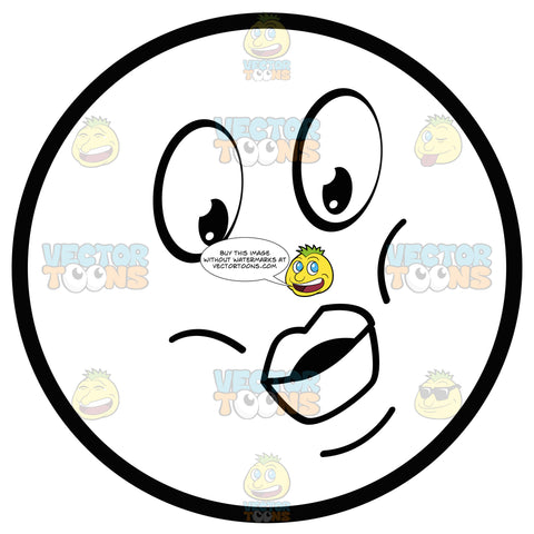 Large Eyed Black And White Smiley Face Emoticon With Puckered Lips